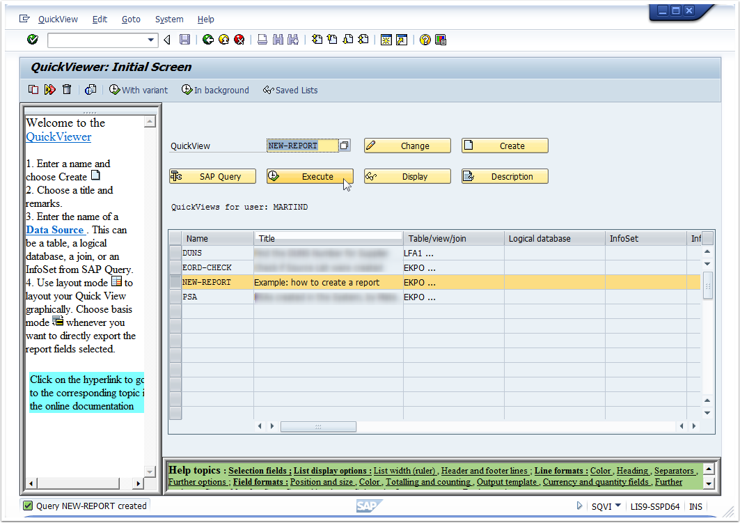 How to create a quick report using transaction SQVI | super